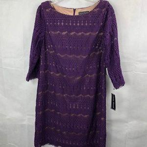Jessica Howard Purple Tan Dress Size 14 NEW NWT